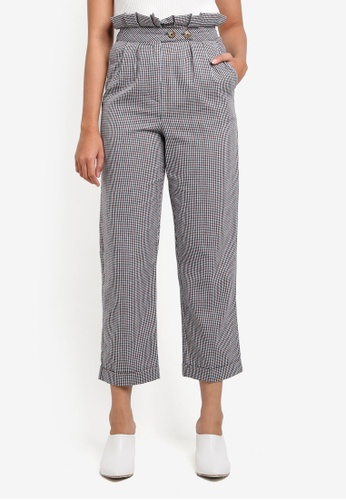 TOPSHOP grey Ruffle Checkered Peg Trousers E318DAA3940FE9GS_1