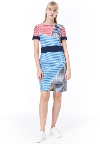United Colors of Benetton red Short Sleeve Striped Dress 48303AA6DBDEF7GS_1