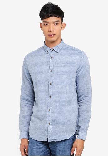 ESPRIT 藍色 Woven Long Sleeve Shirt DC8D5AABF803DDGS_1
