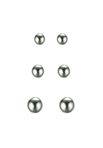Fur Nyce silver Classic Stainless Steel Ball Stud Earrings Set FU779AC06KZTMY_1