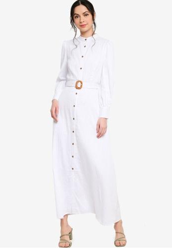 Zalia white Belted Puff Sleeve Shirt Dress 6E342AA5AC02F9GS_1