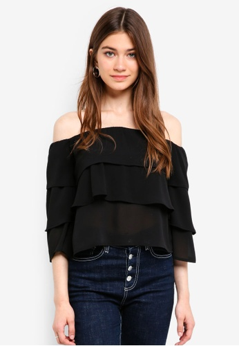 Something Borrowed black Tiered Off Shoulder Top E645AAA2E3D822GS_1
