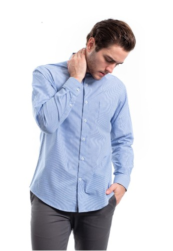 MANLY blue MANLY Montreal Blue Slim Fit Striped Shirt Long Sleeve 05F51AAF8F2F12GS_1