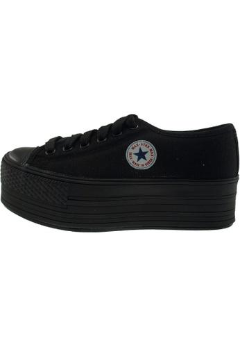 Maxstar 黑色 新款韩国鞋C50-6H-All時尚帆布布混合女黑色 US Women Size MA345SH89GTQTW_1