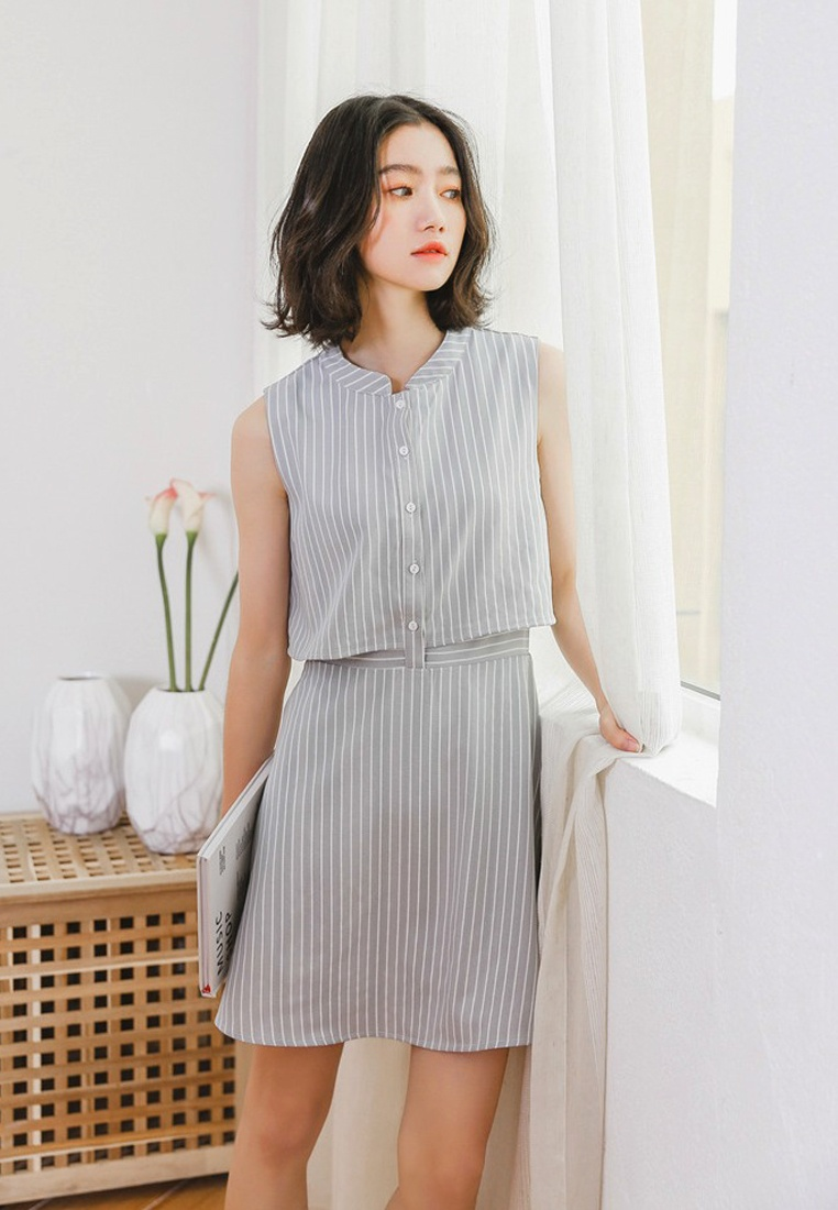 Blue New Sunnydaysweety Striped One 2018 Sleeveless Piece Dress A052204 x8OPgxw7q