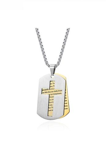 HAPPY FRIDAYS gold Hollow Cross Religious Words Army Necklace JW QF-DZ288 23D09AC85D8D82GS_1