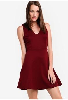 V cut evening dress zalora
