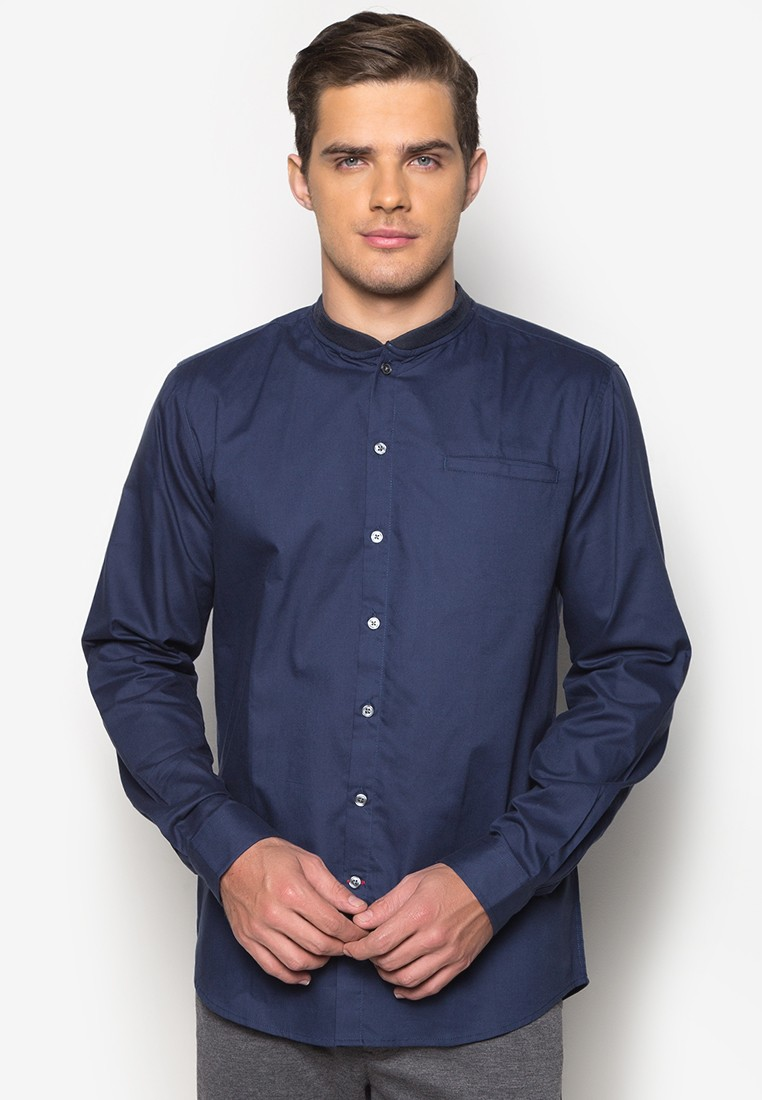 Casual Long-Sleeved Oxford Bomber Shirt