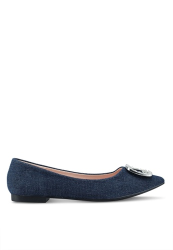 Nose 藍色 水晶鑽飾平底鞋 CE058SH56F9CA1GS_1