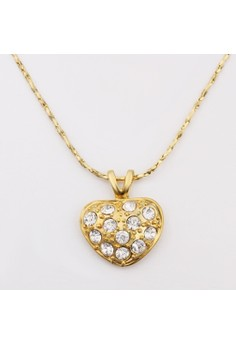 N596 Classical Fine Zircon Embellished Heart Pendant Plated Necklace