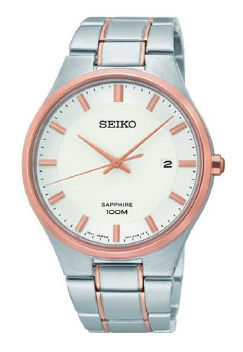 Seiko silver Seiko Rose Gold and Silver Stainless Steel Watch 8BEE7AC9A39398GS_1