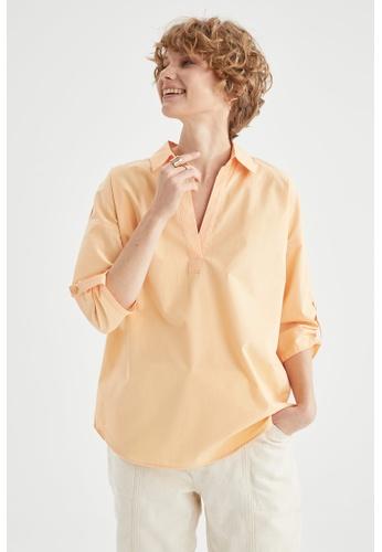 DeFacto beige Long Sleeve Cotton Blouse 354ECAADE593B7GS_1