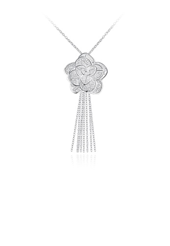Glamorousky silver Elegant Romantic Fashion Rose Flower Tassel Pendant Necklace B55E7AC92B4EC2GS_1