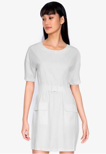 ZALORA BASICS white Double Pocket Dress With Belt E853BAA049A908GS_1