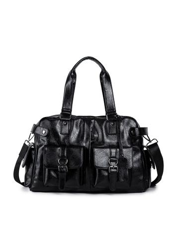 Lara black Plain Pockets Zipper Shoulder Bag With A Cross Body Strap - Black 8514DAC23BB4D6GS_1