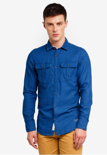 Jack & Jones navy Keane Worker Shirt 08E57AA7722903GS_1