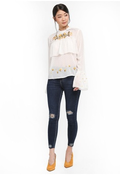 1e6ee6246f4 60% OFF Miss Selfridge Ivory Embroidery High Neck Blouse RM 216.05 NOW RM  86.90 Sizes 6 8