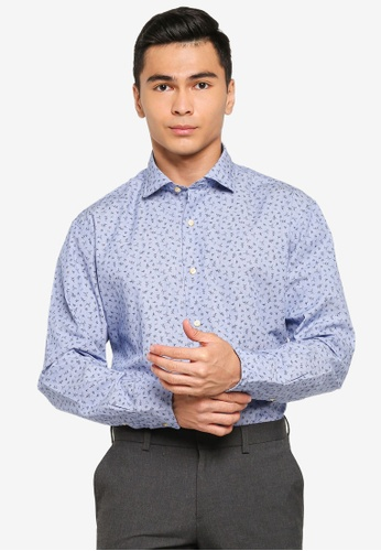 Sacoor Brothers blue Slim fit 100% cotton printed shirt BE890AA7249E06GS_1