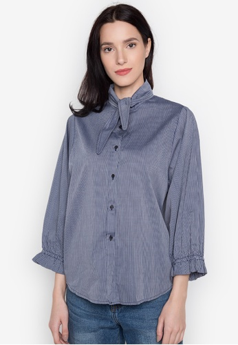 Chloe Edit navy Top With Tie And Frilled Sleeves CH672AA0JS4GPH_1
