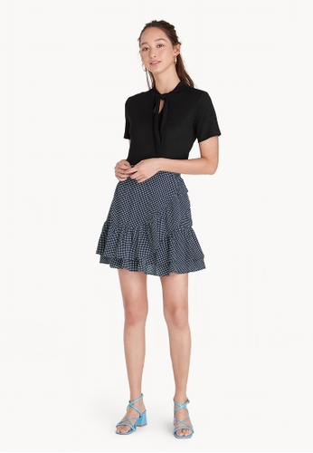 Pomelo navy Mini Gingham Ruffled Skirt 7DCACAA2AC494AGS_1