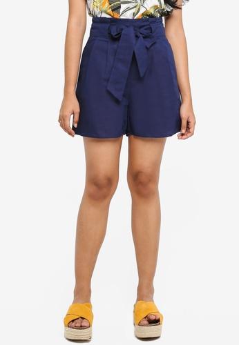 WAREHOUSE navy Linen Mix Shorts F624EAAEA36D92GS_1