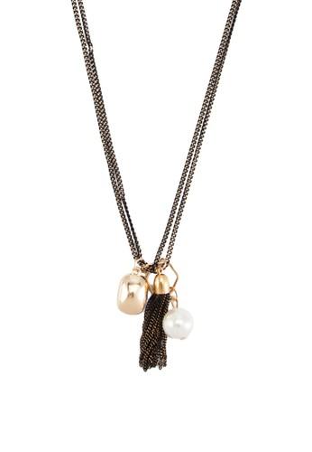 雙層閃飾珍珠項鍊, 飾品配esprit官網件, 項鍊