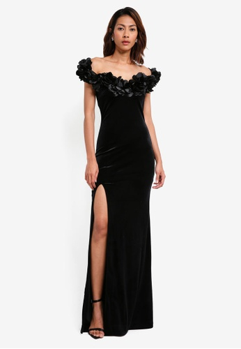 Goddiva black Velvet Maxi Dress With Flower Neckline 30347AA65600A6GS_1