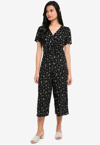 Dorothy Perkins black Petite Ditsy Twist Jumpsuit 81388AA1E90BA1GS_1