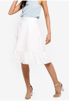 a46e2ad3c01610 ZALORA white Ruffles Hem Skirt 6AD08AA7E33100GS 1