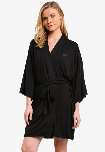 Calvin Klein black Seductive Comfort Lace Robe - Calvin Klein Underwear CA221AA0RPANMY_1