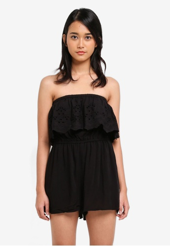 Supre black Coco Embroidered Playsuit 2F965AAF08FDD6GS_1