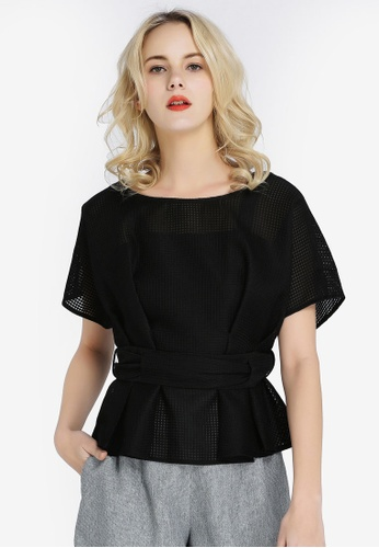 Hopeshow black Peplum Top 1D100AACAEA2BDGS_1