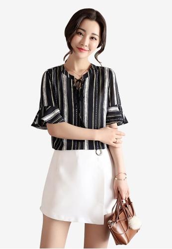 Lara black Stripe Chiffon Top for Women 73D8DAA9C2A8A9GS_1