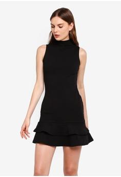 5adc81c1be29 Boohoo black Sleeveless Ruffle Hem Bodycon Dress 9C3DAAA42EF8FDGS_1