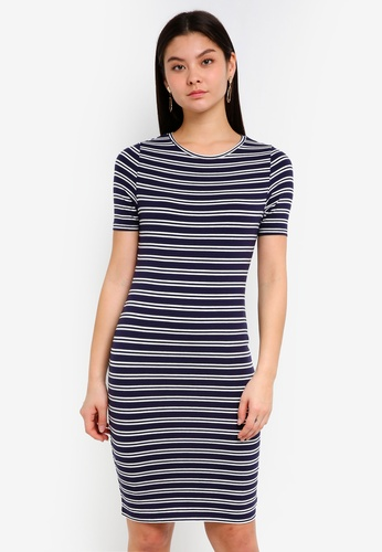 78be2189f27 Buy Dorothy Perkins Navy Stripe Bodycon Dress Online on ZALORA Singapore