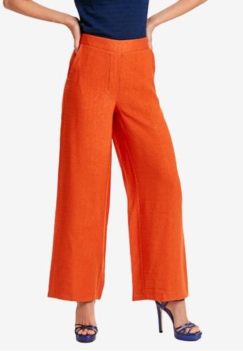 LC Waikiki orange Elastic Waist Palazzo Trousers 4EFF0AA6059674GS_1
