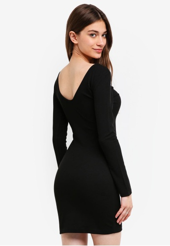 Something Borrowed black Scoop Back Bodycon Dress 67423AAC25DC9FGS_1