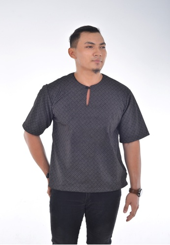 Assie Modesty black and grey and multi Checked Kurta Teluk Belanga 40BDAAA8D9913EGS_1