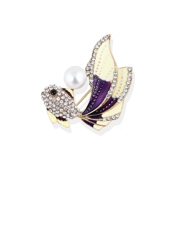 Glamorousky white Fashion Bright Plated Gold Purple Goldfish Imitation Pearl Brooch with Cubic Zirconia 1C713AC297FD76GS_1