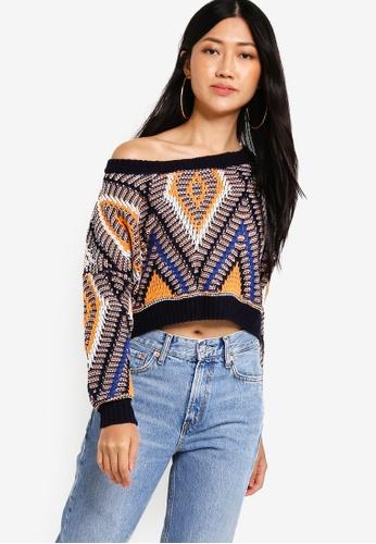 Something Borrowed multi Aztec Knit Crop Sweater 1B3FCAA43E3074GS_1