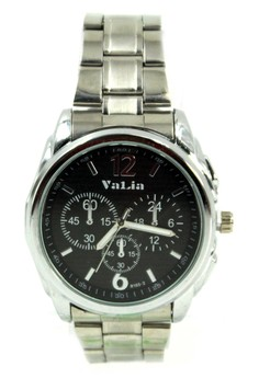 Valia Keegan Unisex Black Stainless Steel Strap Watch 8165-2