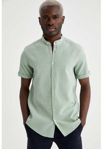 DeFacto green Man Woven Short Sleeve Shirt 09D2BAA9ADC03BGS_1