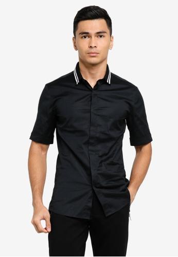 ck Calvin Klein black COTTON STRETCH SHIRT WITH STRIPE COLLAR 23E2BAAFAA3C17GS_1