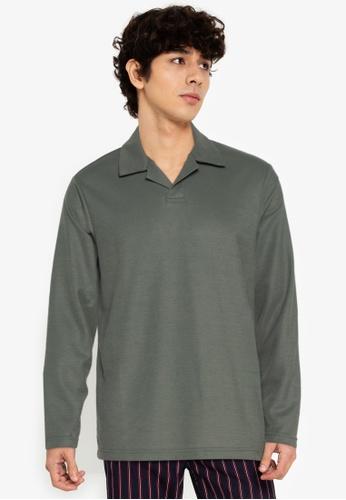 ZALORA BASICS green Long Sleeve Polo Tee 87F73AAEDC9E43GS_1