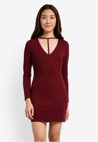 Something Borrowed red Plunge Neck Detail Bodycon Dress 6A46DAAF043388GS_1