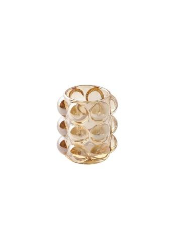 DILAS HOME Small Bubble Glass Holder (Amber) E8AC8HL72637C6GS_1