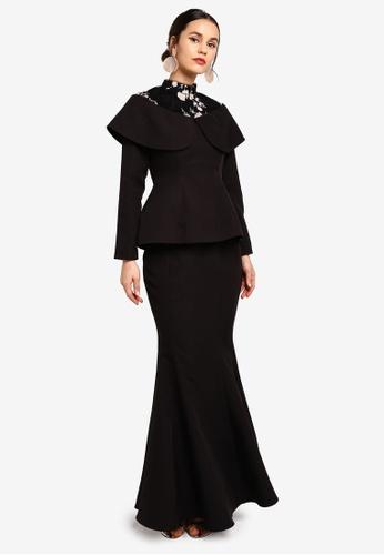 Zalia black and orange Sequin Overlay Kurung With Skirt 2EE9AAA36D5BCFGS_1