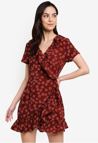 Brave Soul red All Over Floral Wrap Dress With Frill Detail 92CF3AA2C39441GS_1