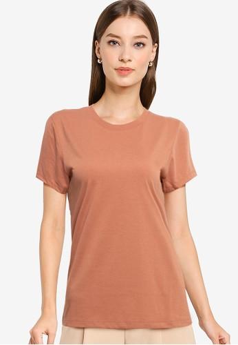 Tolliver brown Round Neck Basic Short Sleeve Tee B532CAA3DAF864GS_1
