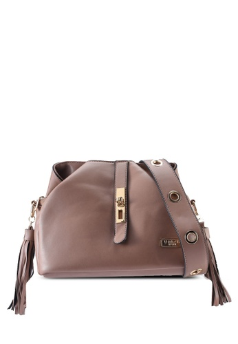 Unisa brown Faux Leather Shoulder Bag With Tassel 8635AAC142F245GS_1